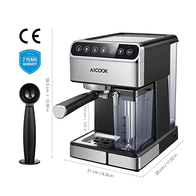 Aicook - Cafetera de goteo (5 bar, sin BPA, semiautomática ...