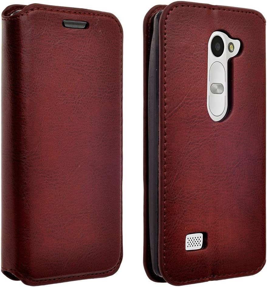 Microseven LG Leon H320 C40 Case Cover, Magnetic Leather Flip Wallet Case with Card Slots Cash Compartment For LG RISIO, Tribute Duo, LS665 (Tribute 2), H340 (LEON), H326 (LEON), H345 (LEON), LG Leon LTE Case (C40 / H320) / Power L22C (TracFone / NET10) / Destiny L21G (StraightTalk) (Sprint / METRO PCS / T-MOBILE/Boostmobile/ cricket/Virgin Mobile) with Microseven Packaging (BROWN EXECUTIVE WALLET)