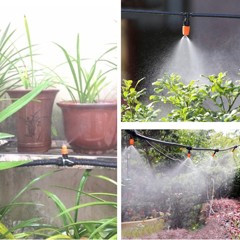 "Mifengdaer 65pcs/set Adjustable Irrigation Kits System Self Plant Garden DIY Misting Automatic Watering Full Kits Water Irrigation System for Flower Beds, Decks, Landscape, Potted Plants and Vegetables, 591""(15m))"