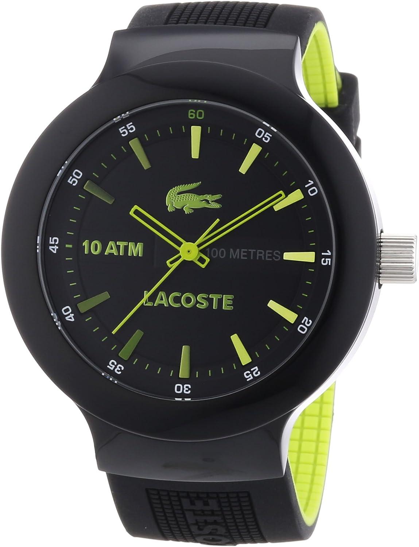 Lacoste 2010656 - Reloj analógico de Cuarzo para Hombre con Correa de Silicona, Color Negro