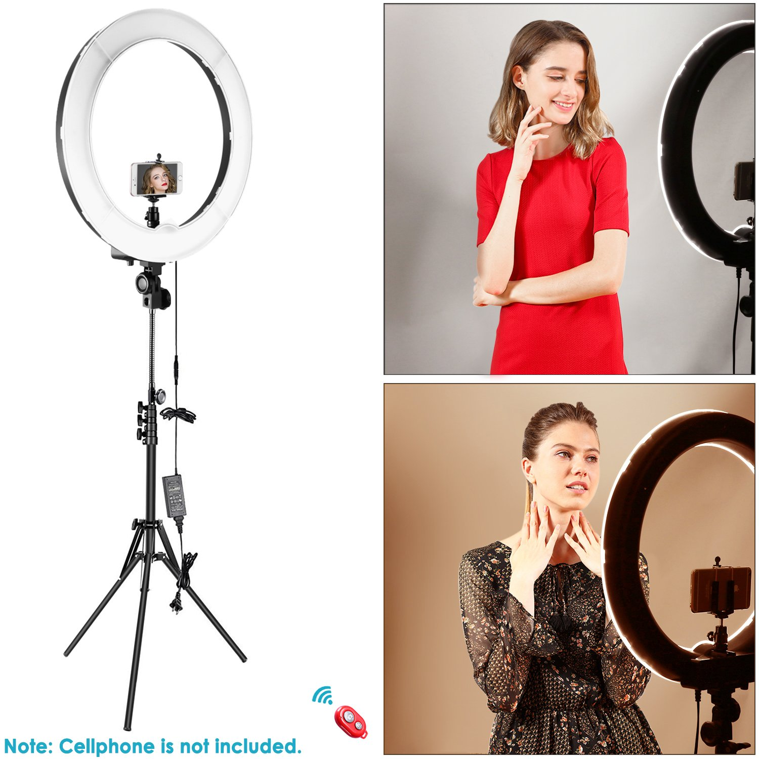 Black Remote and Multiple Lights Control Stand Included for Makeup YouTube Video Blogger Salon 3200-5600K Neewer Advanced 16-inch LED Ring Light Support Manual Touch Control with LCD Screen