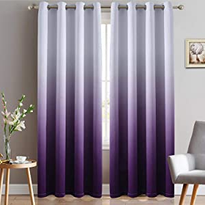 Yakamok Thermal Insulated Grommet Window Drapes Gradient Color Ombre Purple Blackout Curtains Room Darkening Panels for Bedroom (Purple, 52x96 Inch, Set of 2)