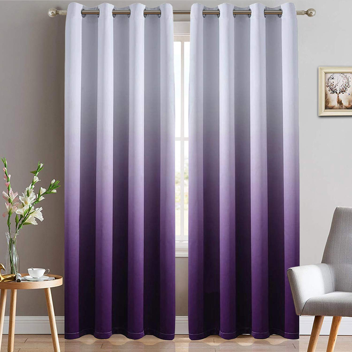 Yakamok Light Blocking Gradient Color Panels Purple Ombre Blackout Curtains Room Darkening Thermal Insulated Grommet Window Drapes for Living Room/Bedroom (Purple, 2 Panels, 52x84 Inch) by Yakamok
