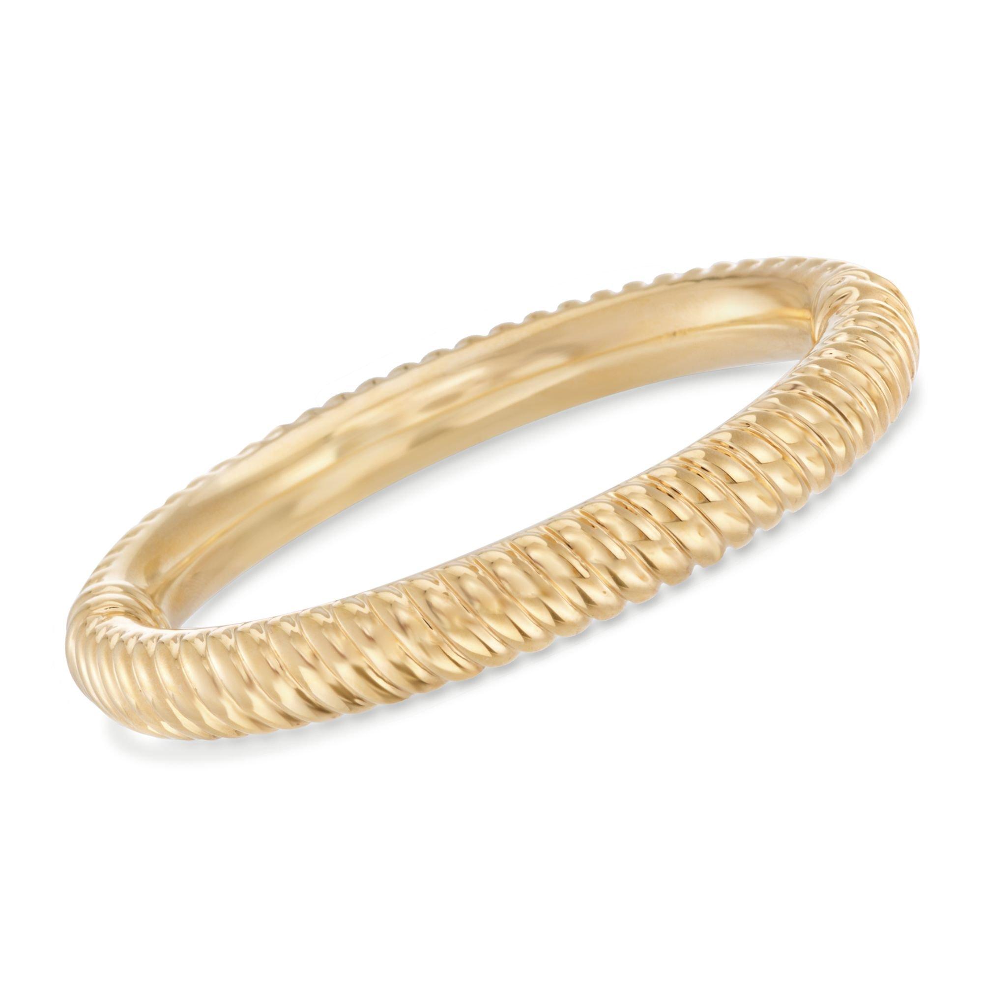 Ross-Simons Italian 14kt Yellow Gold Over Resin Ribbed Bangle Bracelet. 8''