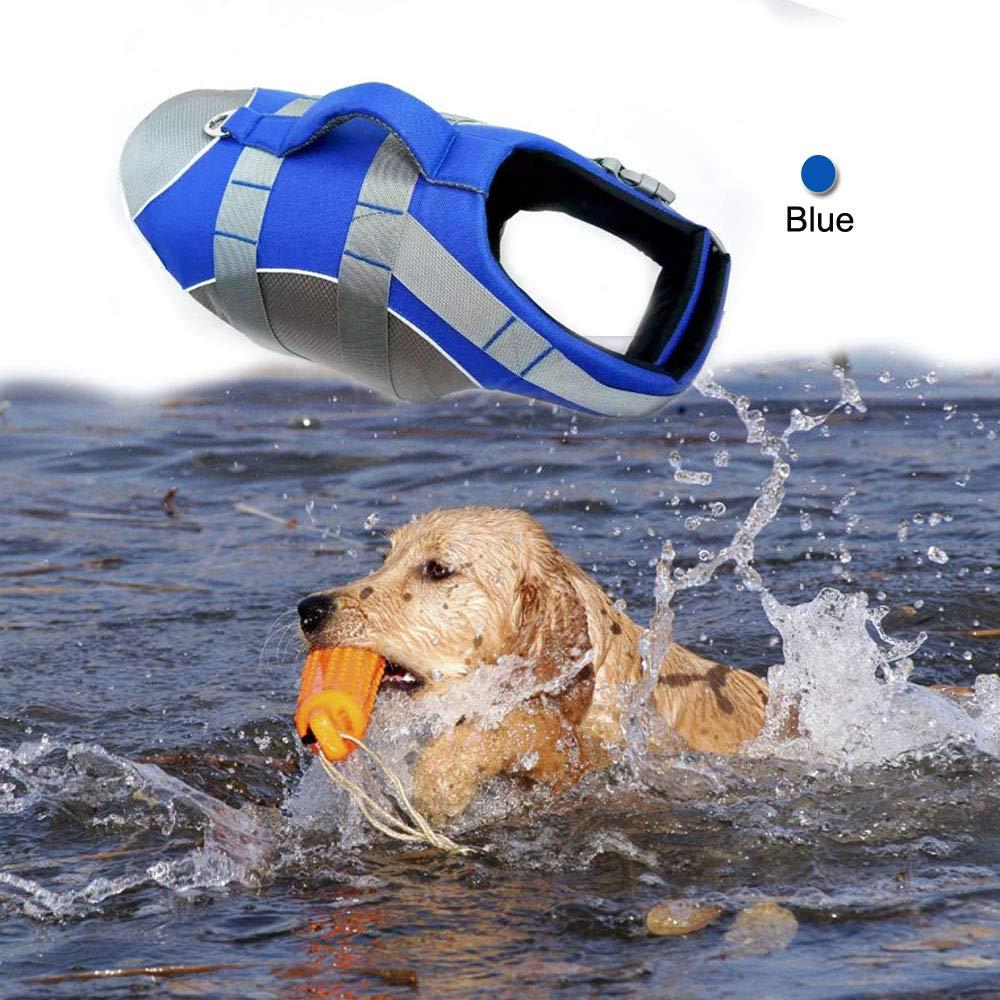 Wave Rider's Reflective Dog LifeJacket, Super Buoyancy EVA Lining ,Adjustable Dog Safety Vest (Medium, Blue)