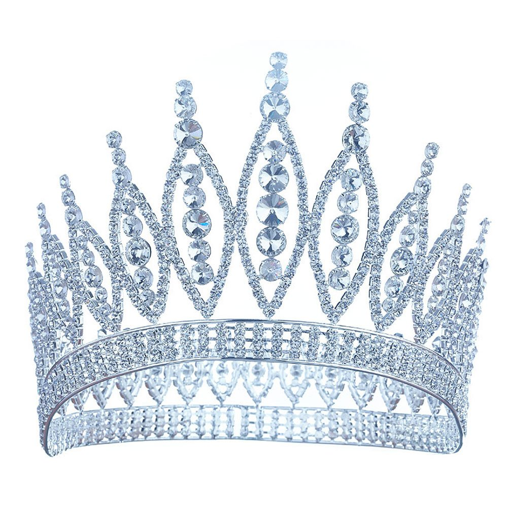 Pageant Tall 4.6'' Tiara Full Circle Round Crystal Crown T1723