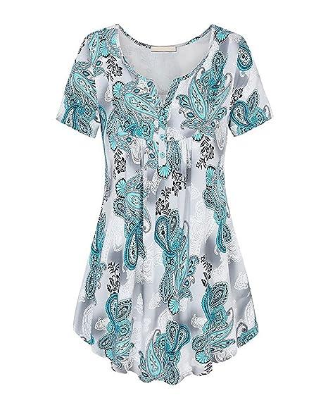 Camisas Mujer Verano Vintage Estampados De Flores Blusas Elegantes Manga Corta V Cuello Joven Bastante Casual Moda Señora Camiseta Tops Women: Amazon.es: ...