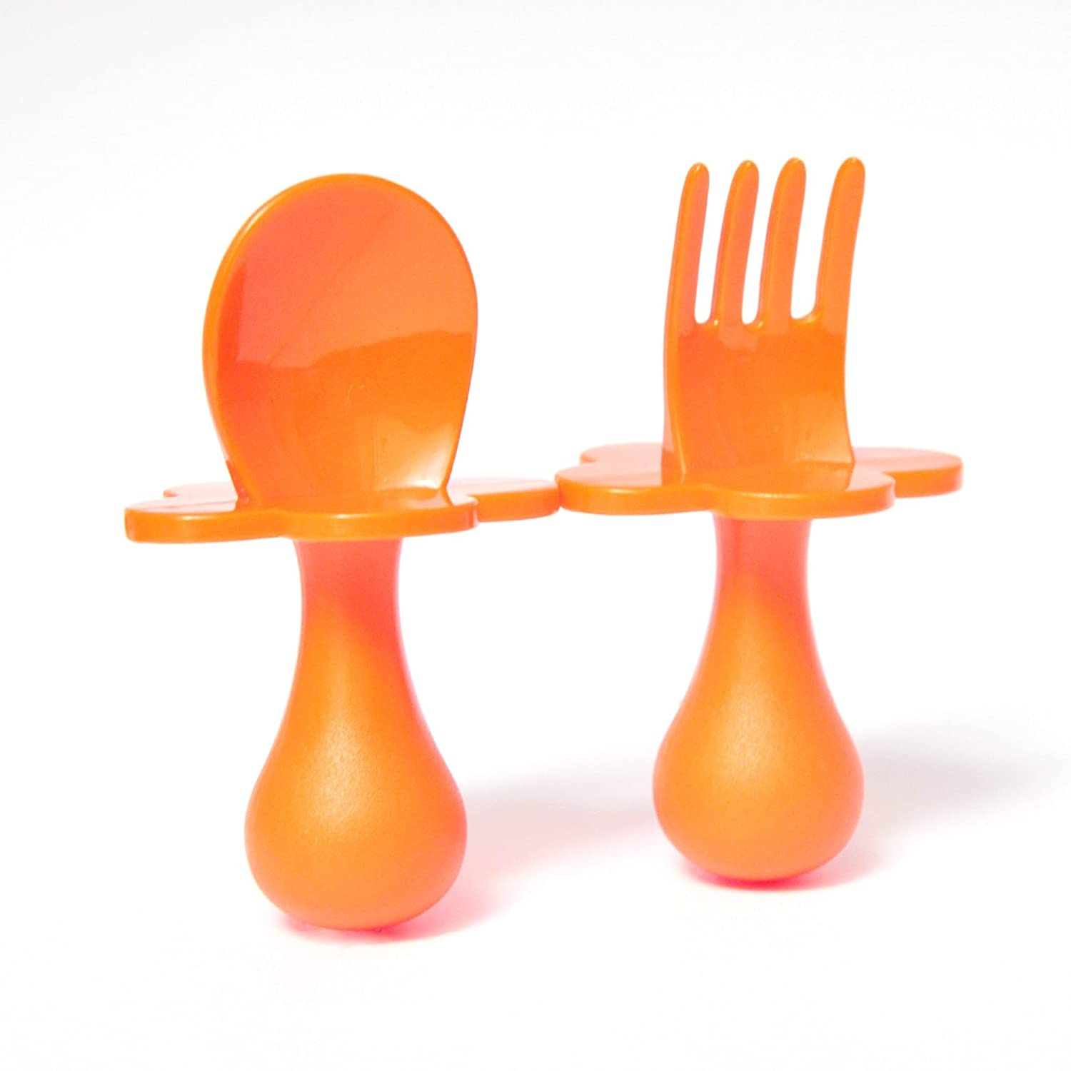 Grabease: Patented self-Feeding Baby Cutlery Set; Baby-led weaning Easy and Fun (Orange Set) Elli&Nooli