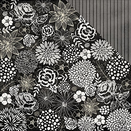 Authentique Paper 18 Sheets Timeless Floral/Classic Ticking Stripe Everlasting Double Sided Cardstock, 12 x (Timeless Ticking Stripe)