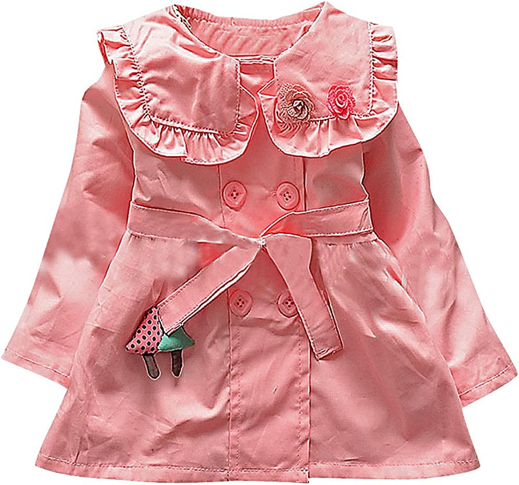 Sweety Girls Belted Rose /& Mushroom Appliques Double Breasted Trench Coat