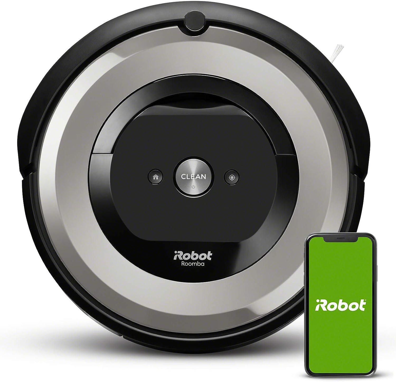 iRobot Roomba e5154 Wifi, Robot aspirador óptimo para mascotas, aspiración alta potencia, 2 cepillos goma, alfombras y suelos, Dirt Detect, sugerencias personalizadas, compatible con asistentes voz: Amazon.es: Hogar