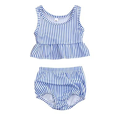cdf2f2b34da45 YOUNGER TREE Toddler Baby Girls Summer Swimsuit Sleeveless Striped Swimsuit  Two-Piece Suit (Blue