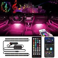 Interior Car LED Strip Lights Music Sync 60 LED - Dosocu RGB Automotive Atmosphere Lighting LED Neon Accent Light Under…