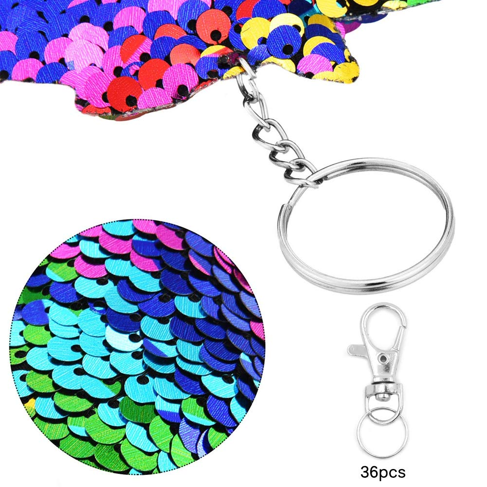36 Pieces Reversible Sequin Keychains Kit,Flip Sequin Keychains With Mermaid Tail Unicorn Cat Bear Dolphin Giraffe Shape Key Ring Bag Decorations