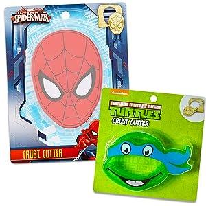 Super Hero Sandwich Cutter Set for Kids~ TMNT & Spiderman Cookie Cutters for School Lunch (Superhero School Supplies)