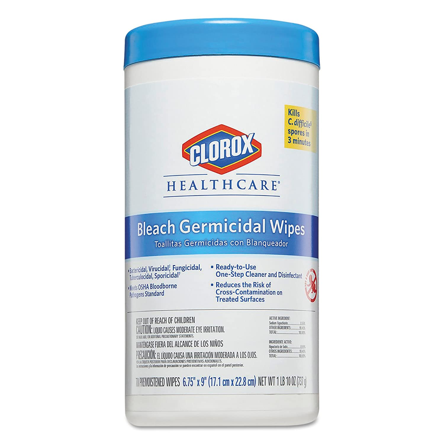 Amazon.com: Clorox Healthcare 35309CT Bleach Germicidal Wipes, 6 3/4 x 9, Unscented, 70 per Canister: Industrial & Scientific