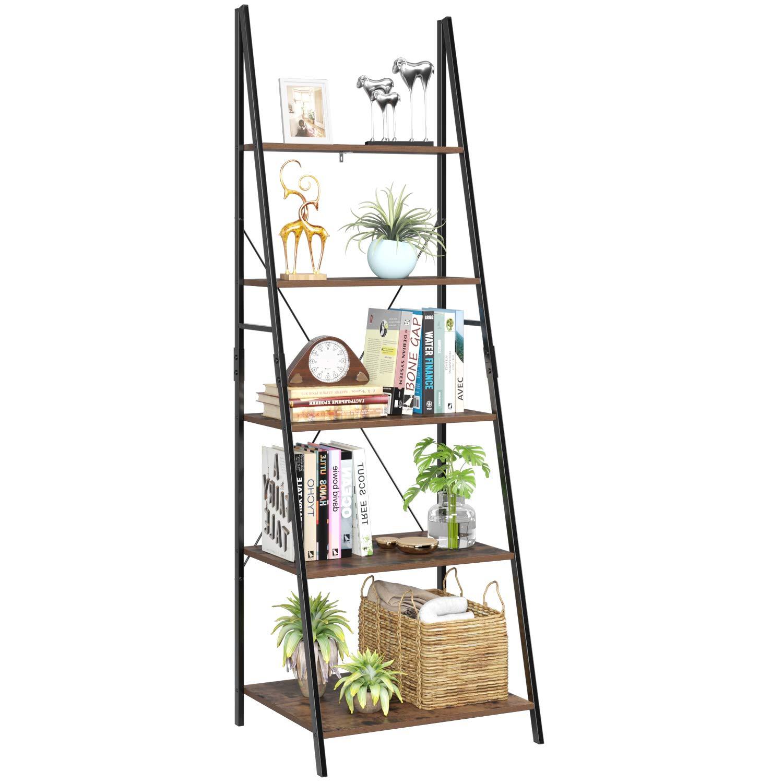 Homfa Ladder Shelf, 5 Tier Vintage Bookcase, Multifunctional Bookshelf Plant Flower Stand Storage Rack Shelves, Wood Look Accent Metal Frame Modern Furniture Home Office by Homfa