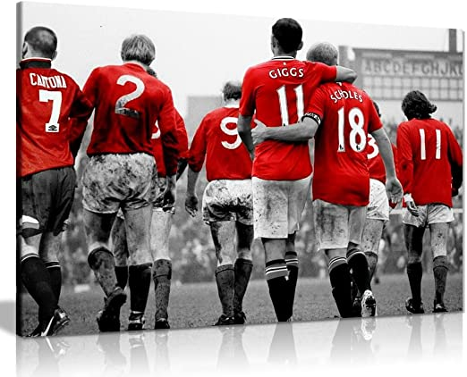 Amazon Com Manchester United Legends Football Canvas Wall Art Picture Print 30x20in Home Kitchen