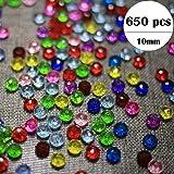 DAHI Glasperlen 10mm ca. 650 stück- Kristall Glas Perlen 250 Gramm EIN Set Acryl Perlen zum auffädeln Bastelperlen Schmuckherstellung DIY Halsketten Armband (glasperlen-C)
