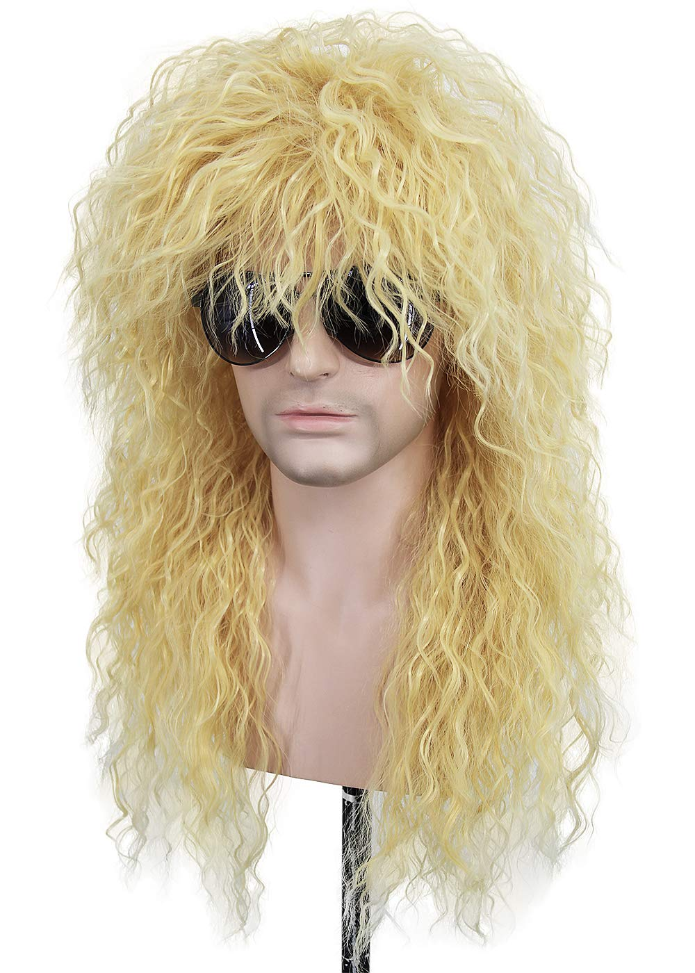 GORWAVCI Mens Long Curly Wigs Brown Mustache Thor CosplayWig Anime Halloween Costume Party Wig