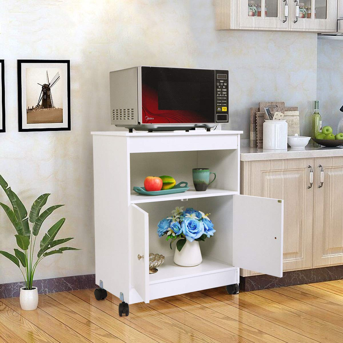 Thegreatshopman Rolling Wooden Storage Cabinet Kitchen Microwave Cart