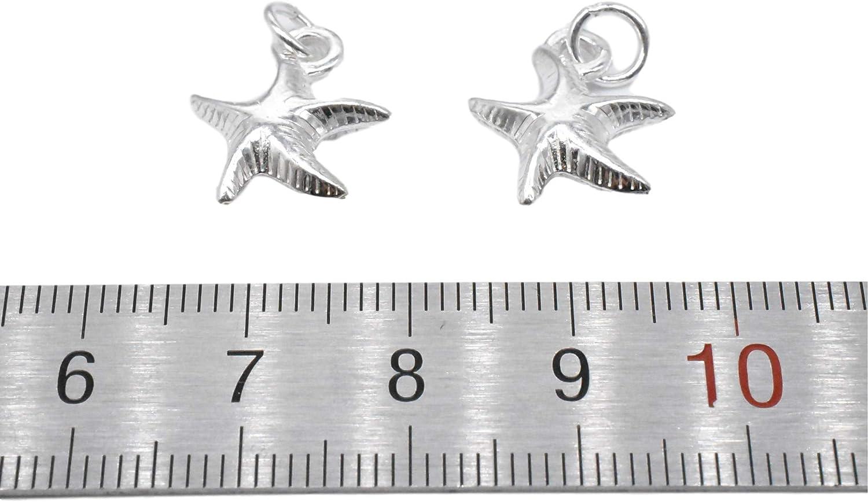 Bracelet Charm Shiny Starfish 3 Sterling Silver Stafish Charms Necklace Charm 925 Silver Starfish Charms