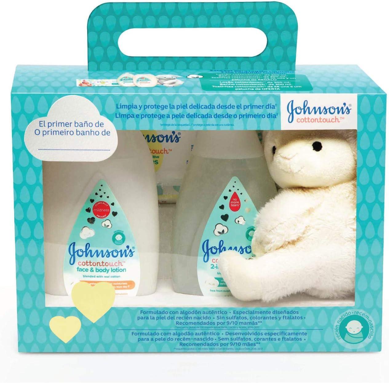 johnsons Baby Set Cotton Touch Gel De Baño 300 ml + Loción Corporal 300 ml + Toallitas 56 Unidades + Peluche Oveja: Amazon.es: Belleza