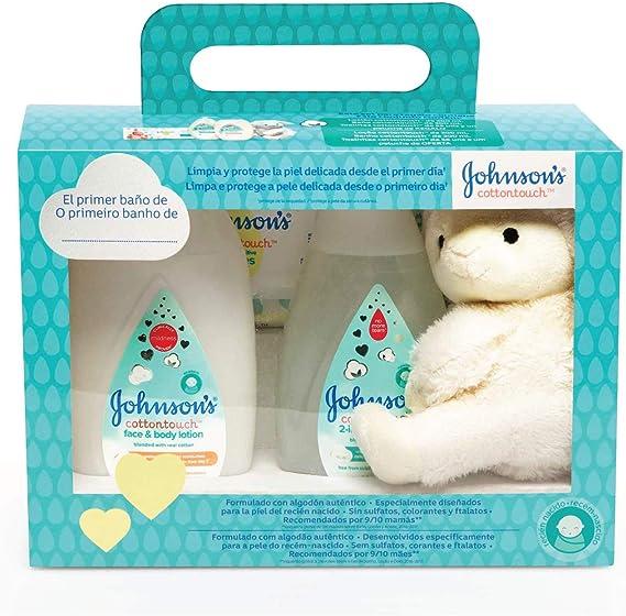 johnsons Baby Set Cotton Touch Gel De Baño 300 ml + Loción Corporal 300 ml + Toallitas 56 Unidades + Peluche Oveja