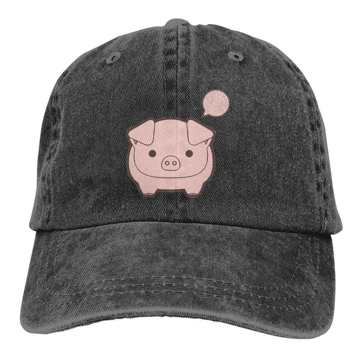 Adult Unisex Cowboy Cap Adjustable Hat Lovely Pig Cotton Denim