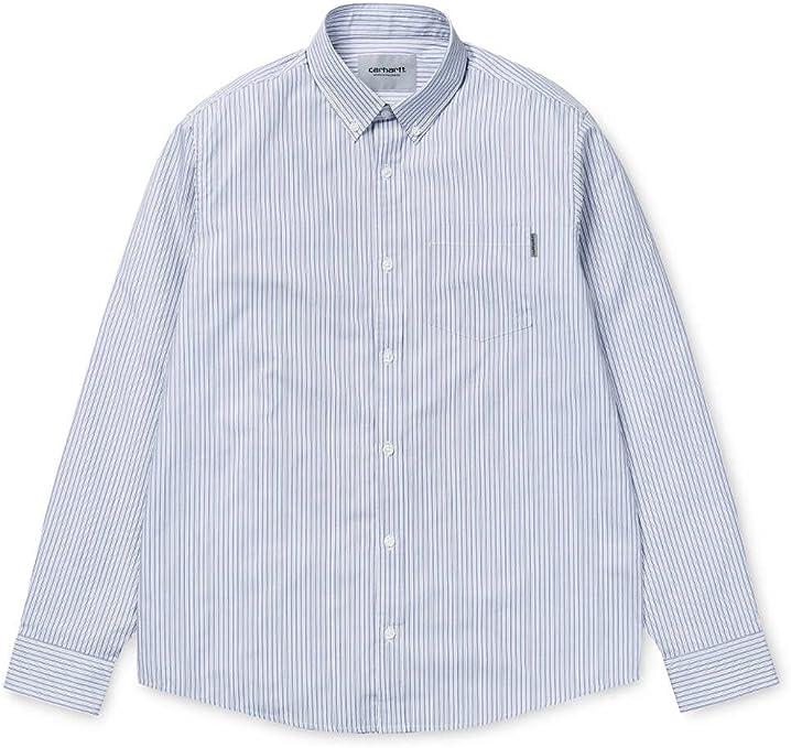 Carhartt WIP Hombre camisas L/S Crane Camiseta, crane stripe, blue iris, large: Amazon.es: Deportes y aire libre