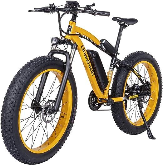 Shengmilo 1000W Motor Eléctricas,26 Pulgadas Mountain E-Bike, Bicicleta Plegable Eléctrica, Neumático Gordo de 4 Pulgadas, Solo Una Batería Incluida (Amarillo): Amazon.es: Deportes y aire libre