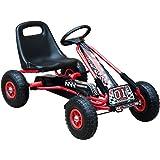 Homcom Kinder-Go-Kart mit Pedalen, aufblasbare Luftreifen, Motorsport-Stil, geeignet für 3bis 8Jahre