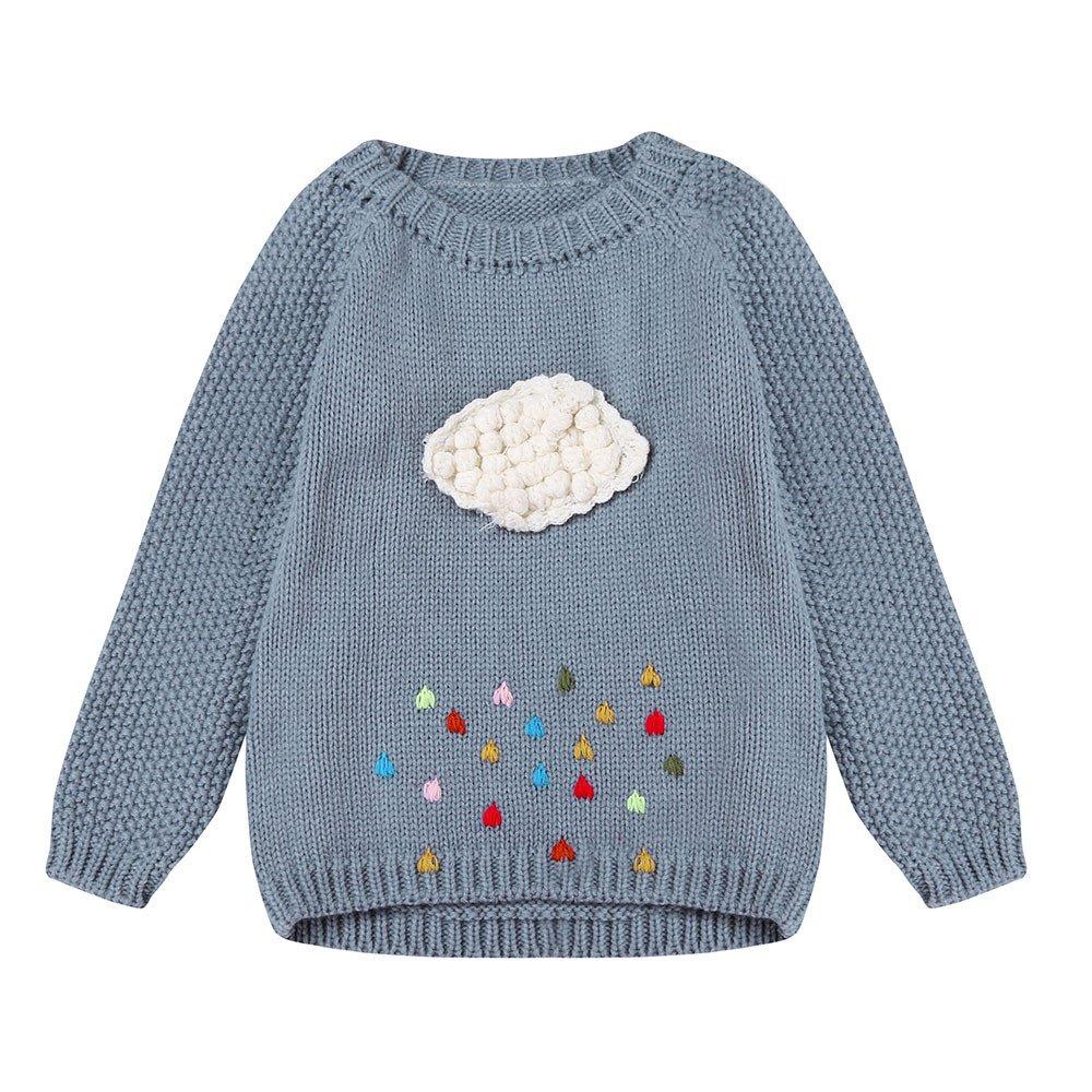 Yalasga Little Girls Cloud Sweater Knit Pullovers Autumn Winter Warm Outerwear (3T, Gray)