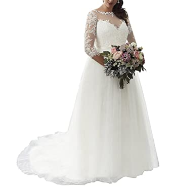 Slenyubridal Plus Size Wedding Dress With Sleeves For Bride 2018