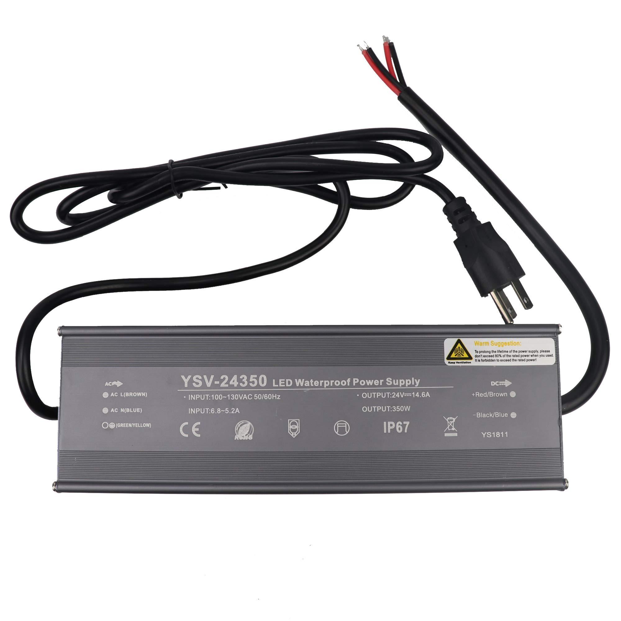LEDENET 350 Watt Waterproof LED Power Suppply for LED Strip Light Driver Transformer Ac 100-130 Volt to 24 Volt DC Output