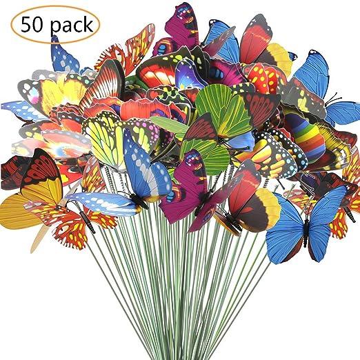 ANDERK 50 Piezas Mariposas Decoracion Coloridas de Adornos para jardin de Patio en Palos para Decoración de Planta, Yarda Exterior, Ornamento de Jardín: Amazon.es: Jardín