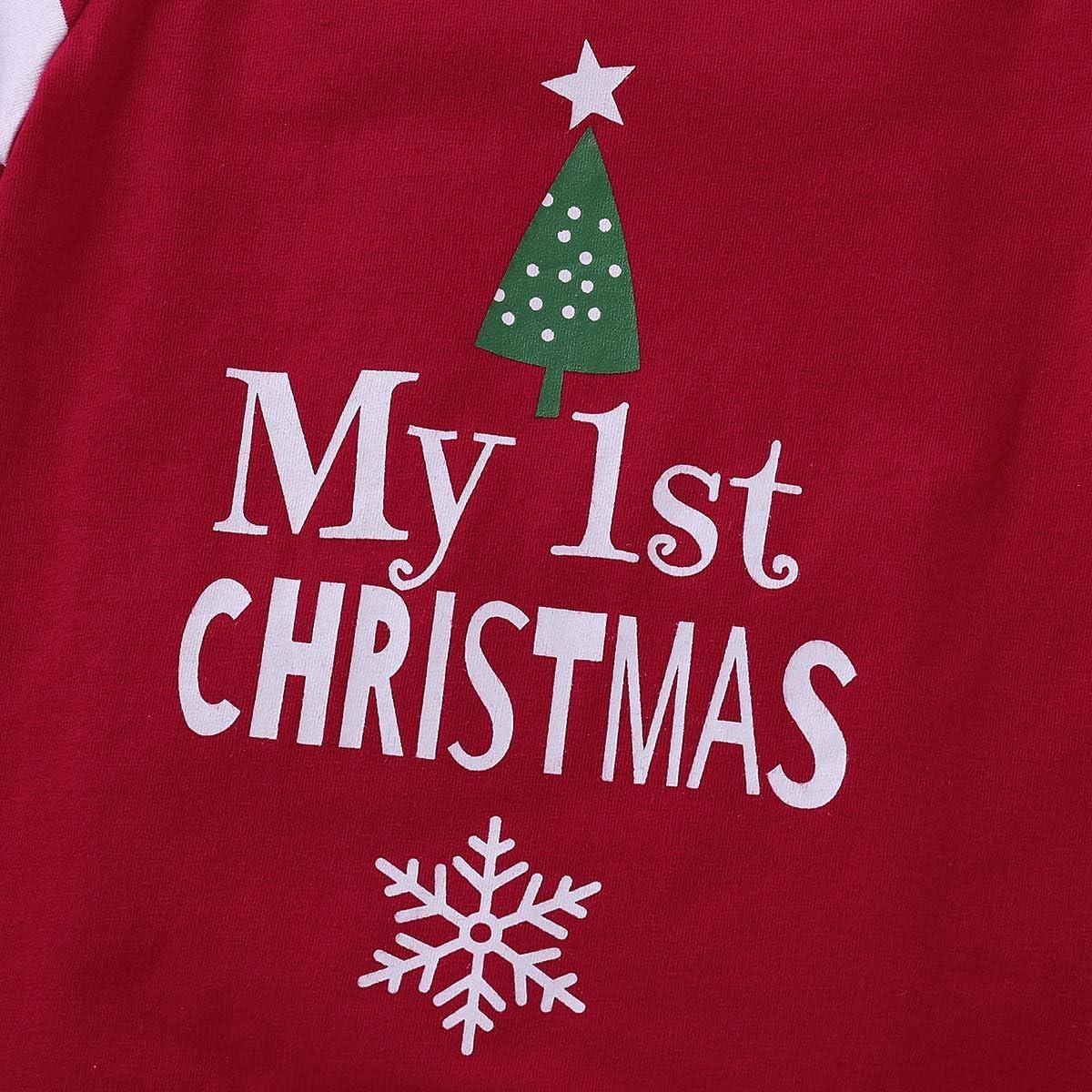 gestreift Geagodelia My 1st Christmas Strampler f/ür Neugeborene lang/ärmlig 2-teiliges Set