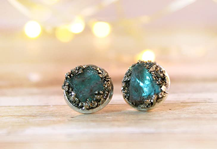 Boho Raw Crystal Gemstone Birthstone Aquamarine Stud Earring Jewelry