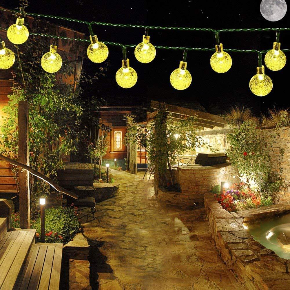 Samoleus Cadena Solar Luces, 20 LED Hada Estrellada Potencia de Solar del de 4,8 M al Aire Libre de la Rota Cadena Luces Iluminación Ambiente para Paisaje Patio Jardín Dormitorio Campamento Navidad Fiesta Boda (Color) [Clase de eficiencia energética A+++]