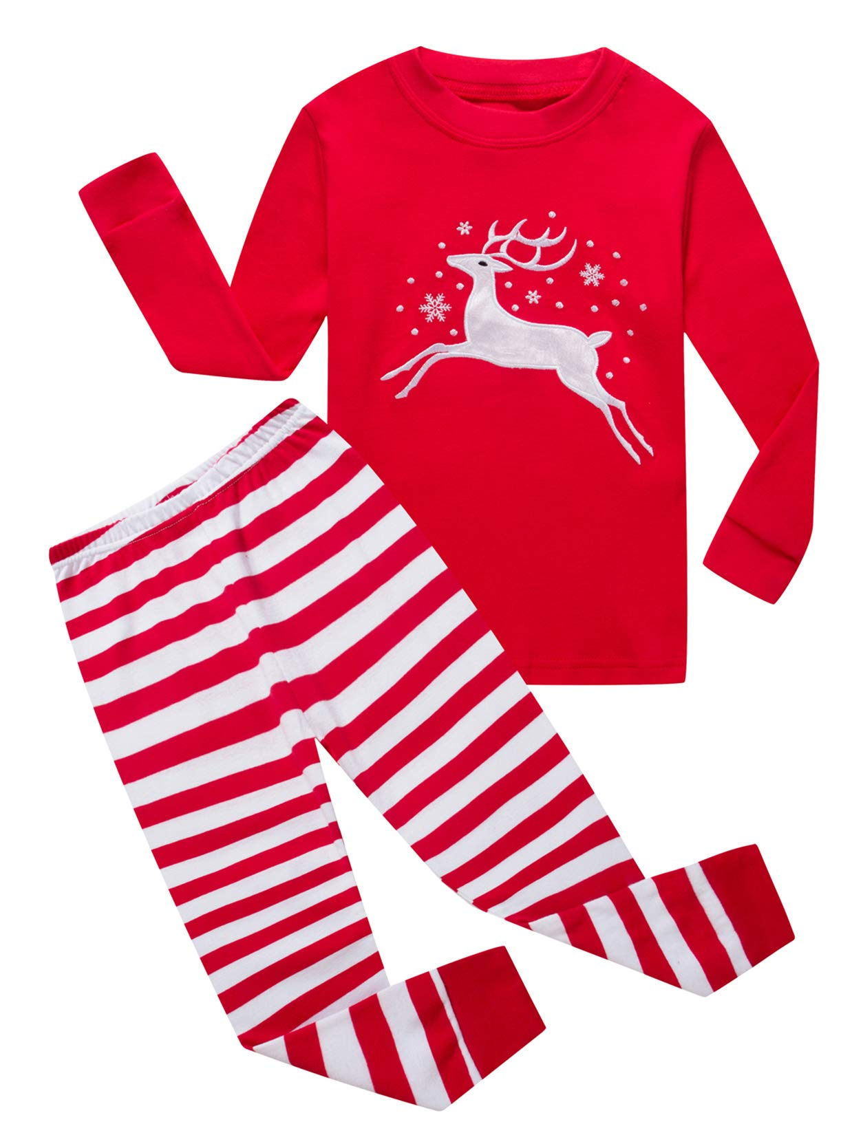 Family Feeling Little Girls Boys Long Sleeve Christmas Pajamas Sets 100% Cotton Pyjamas Toddler Kids Pjs Size 3T Reindeer by Family Feeling