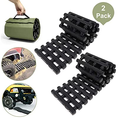"RELIANCER 2PC Traction Tracks Mats TPR 31.5"" L Tire Recovery Track Pad Roll Car Vehicle Tyre Traction Boards Tire Ladder Track Grabber Auto Emergency Traction Aid w/Bag for Off-Road Mud Snow Ice Sand: Automotive"