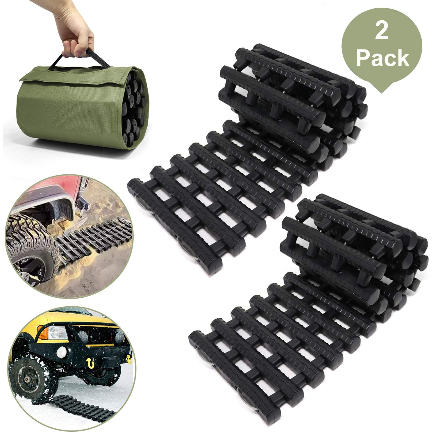 Reliancer 2PC Traction Tracks Mats TPR 31.5'' L Tire Recovery Track Pad Roll Car Vehicle Tyre Traction Boards Tire Ladder Track Grabber Auto Emergency Traction Aid w/Bag for Off-Road Mud Snow Ice Sand by Reliancer-US