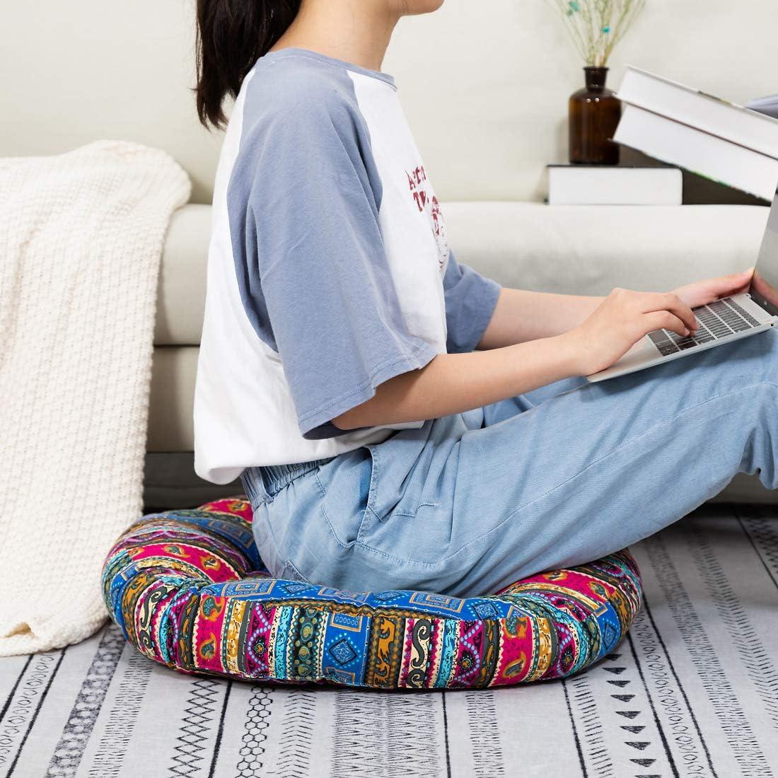 HIGOGOGO Meditation Cushion, Elephant Pattern Mandala Bohemian Style Floor Pillow Round Cotton Linen Boho Indian Seat Cushion Yoga Pillow for Floor Reading Book Bay Window, 22 Inch, Black 71aKGcM8oQL
