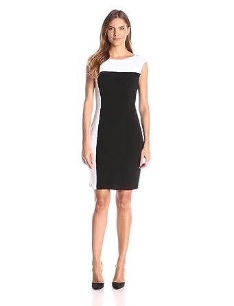 5286157e4ed Amazon.com  Connected Apparel Women s Cap-Sleeve Color-Block Dress ...