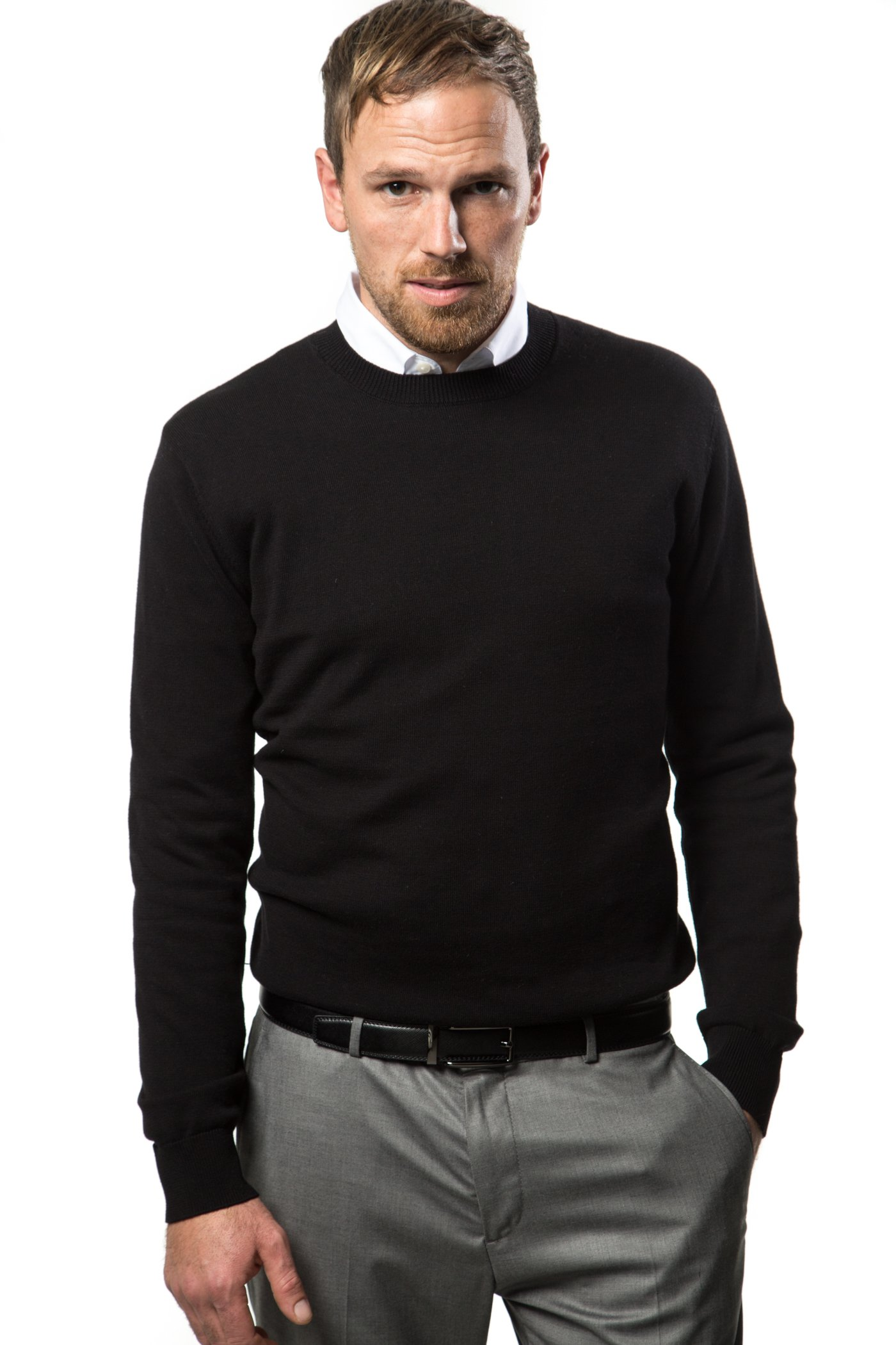Mio Marino Cotton Sweaters For Men - Lightweight Crewneck Men's Pullover, Enclosed in an Elegant Gift Box - Black - Large