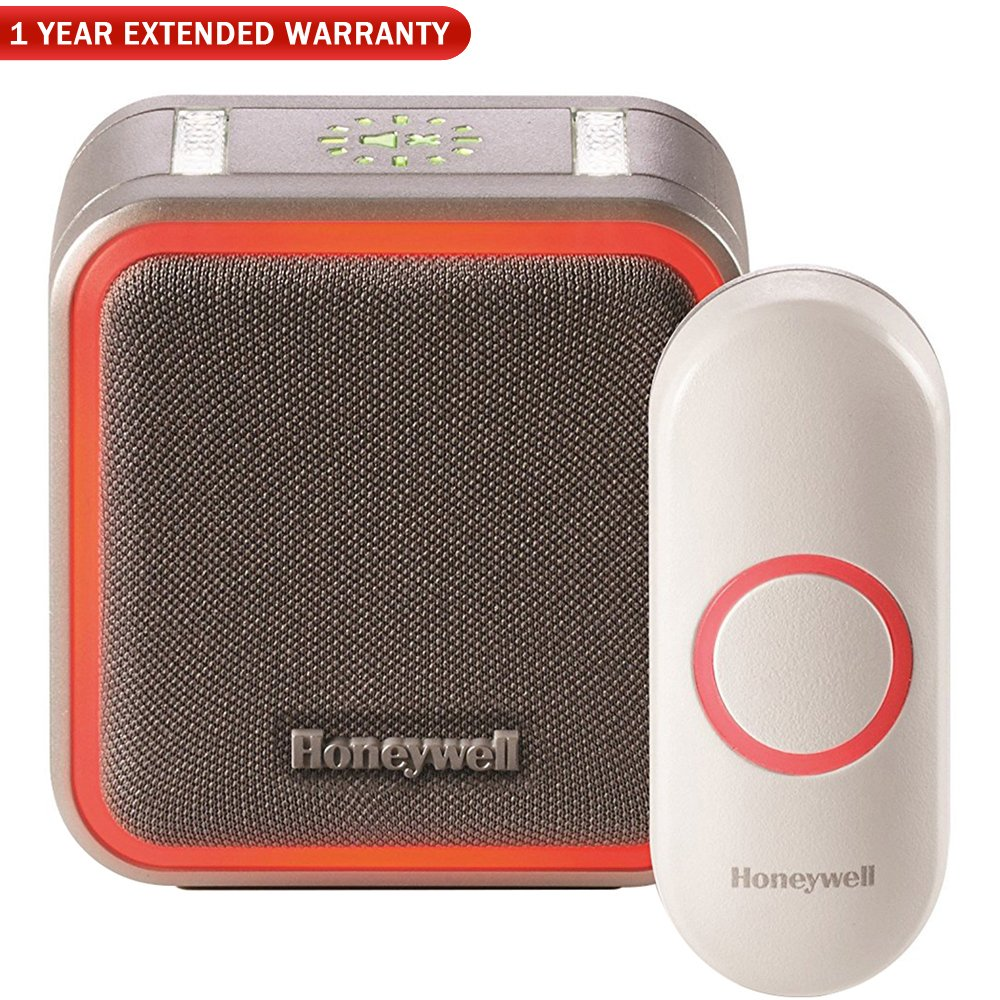 Honeywell (RDWL515A2000/E) Portable Wireless Doorbell with Halo Light and Push Button + 1 Year Extended Warranty