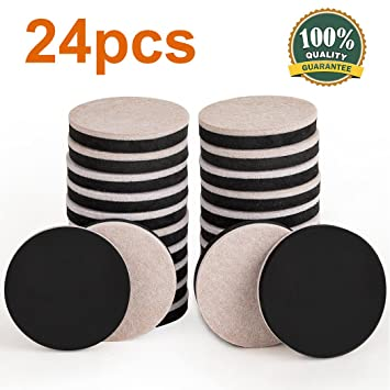 24PCS Furniture Sliders 2.5 Inch Felt Sliders Furniture Moving Pads For Hardwood  Floors And Other Hard
