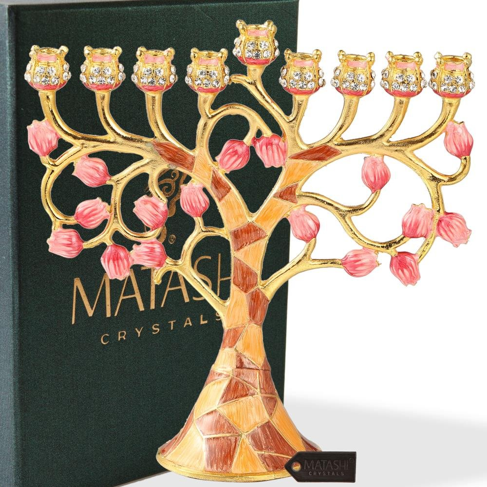 Matashi Hand Painted Enamel Menorah Candelabra Embellished with Gold Accents and Crystals by (Pomegranate)