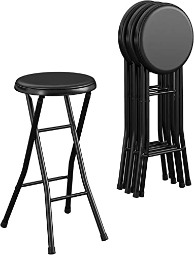 CoscoProducts COSCO 24 Vinyl Padded Folding Stool, Black, 4-Pack
