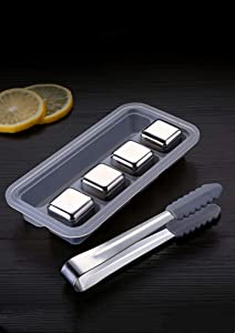 Fathers day gifts,Ice Cubes Reusable, Stainless Steel Ice Cubes for Whisky, Beverage Chilling Rocks, Metal Stones Cooling for Drinks, Vodka Wine, Beer, 4 PCS with Clip